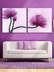e-FOYER toile tendue art décoratif fleurs violettes ensemble de deux de peinture