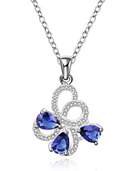 cheap -Elegant Style 925 Sterling Silver Jewelry Butterfly with Sapphire Pendant Necklace for Women