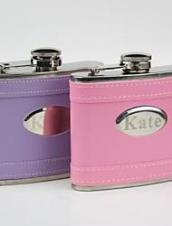 Недорогие -персонализированный подарок розовый / фиолетовый кожа 5 унций кривая колбу