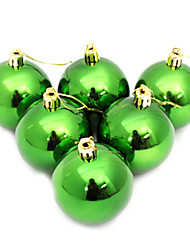 cheap -Set of 6 Green Christmas Tree Decorative Balls