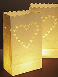 cheap -Big Heart Shaped Cut-out Paper Luminary  Paper Lamp (Set of 4)