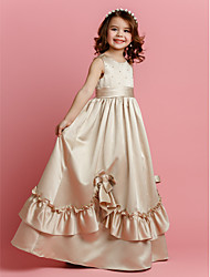 cheap -A-Line Floor Length Flower Girl Dress - Satin Sleeveless Jewel Neck with Beading by LAN TING BRIDE®