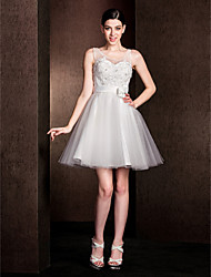 cheap -A-Line Jewel Neck Short / Mini Lace Bridesmaid Dress with Bow(s) / Lace by LAN TING BRIDE® / Open Back
