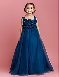 cheap -Ball Gown Floor Length Flower Girl Dress - Satin Tulle Sleeveless Straps with Bow(s) Crystal Detailing Flower by LAN TING BRIDE®