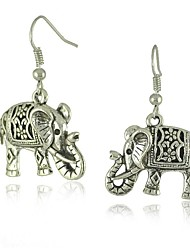 economico -orecchini dell'annata unico cavo d'argento tibetano elefante scolpito ciondola moda