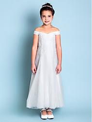 economico -A-line abito ragazza fiore lunghezza caviglia - merletto sleeveless off-the-spalla con ricamo da lan ting bride®