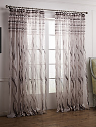Rod Pocket Grommet Top Tab Top Double Pleat Two Panels Curtain Baroque , Print Bedroom Polyester Material Sheer Curtains Shades Home