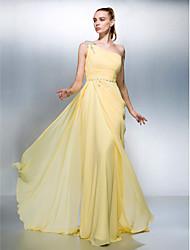 preiswerte -Mantel / Spalte eine Schulter Sweep / Pinsel Zug Georgette prom Kleid mit Perlen von ts couture®