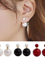 cheap -Women's Stud Earrings Front Back Earrings Costume Jewelry Double Sided Simple Style Pearl Imitation Pearl Alloy Ball Jewelry For Wedding