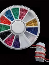 Недорогие -12colors цепь DIY Nail колесных пар Nail Art Decoration