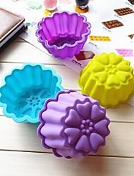 Chrysanthemum Shape Cake Mold Ice Jelly Chocolate Mold,Silicone 9.5×7×4.5 CM(3.7×2.8×1.8 INCH)
