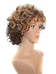 mulheres curta gradiente de cor de cabelo encaracolado dupla perucas sintéticas resistentes ao calor castanho