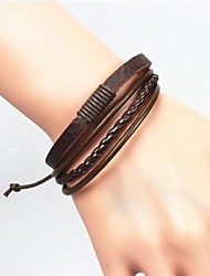 cheap -Men's Leather Leather Bracelet / Bracelet - Unique Design / Casual / Leather Black / Brown Bracelet For Christmas Gifts / Leather / Men's