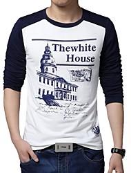 Fritid / Plusstørrelse Tryk Mænds Langærmet T-shirt Bomuld / Polyester-Blå / Rød
