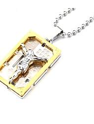 economico -jesus collana pendente rettangolare di spessore in lega di zinco d'oro