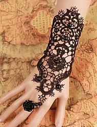 abordables -steampunk®pure novia negro guantes de vestir guantes de perlas pulsera de novia de la boda& anillo