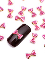 abordables -10pcs pailleté rose alliage de perles noeud papillon nail art 3d bijoux de conception pour quotidienne bricolage manucure française