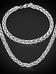 cheap -U7®Cool Men's 316L Stainless Steel Link Twisted Chain Necklace Bracelet for Men Never Fade Jewelry Set