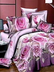 Duvet Cover Sets 3D(random pattern) 4 Piece Polyester Reactive Print Polyester 4pcs (1 Duvet Cover, 1 Flat Sheet, 2 Shams)