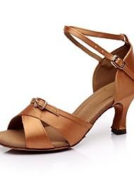 cheap -Women's Latin Satin Sandal Buckle Customized Heel Black Brown Customizable