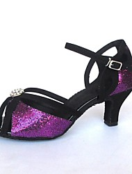 cheap -Women's Latin Shoes Sparkling Glitter Sandal Buckle Customized Heel Customizable Dance Shoes Purple