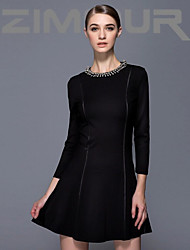billige -ZIMMUR  The 2014 fall fashion white-collar temperament elegant black turtleneck nail bead commuter dress