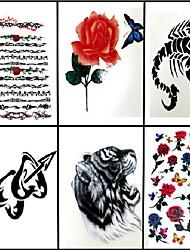 economico -6 pezzi anello di fiori e rose miste tatuaggio temporaneo