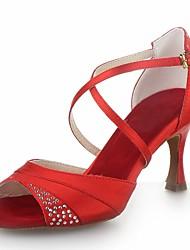 baratos -Mulheres Sapatos de Dança Latina Cetim Sandália Cristais / Presilha Salto Carretel Não Personalizável Sapatos de Dança Vermelho / Prateado / Marrom / Couro