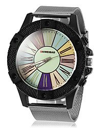 Men's Round Case Colorized Roman Number Dial Steel Band Quartz Wrist Watch (Assorted Colors) Cool Watch Unique Watch