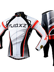 cheap -FJQXZ Cycling Jersey with Tights Men's Long Sleeves Bike Clothing Suits Quick Dry Ultraviolet Resistant Front Zipper Breathable 3D Pad