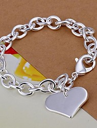 cheap -Heart Shpae  925 Silver Bracelet (1PC) Christmas Gifts