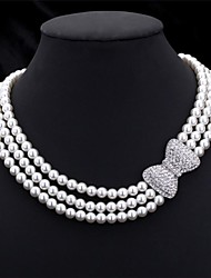 Women's Choker Necklaces Chain Necklaces Collar Necklace Pearl Bowknot Pearl Imitation Pearl Rhinestone Multi Layer Costume Jewelry