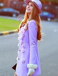 Недорогие -розовые doll® женская мода тонкий цветок шерстяное пальто