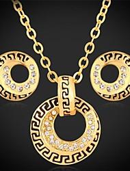 billiga -u7® halsband hängsmycke örhängen 18k äkta guld platina österrikiska strass smycken set