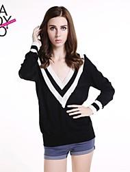preiswerte -haoduoyi® Women's Black White Stripe Deep V Neck Sailor Cuff Knitted Pullover Sweater