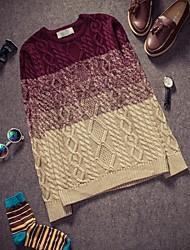 economico -Standard Pullover Da uomo-Casual Ufficio A quadri Manica lunga Cotone
