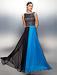 Sheath / Column Jewel Neck Floor Length Chiffon Prom Formal Evening Dress with Lace Sash / Ribbon by TS Couture®