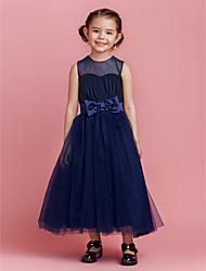A-line principessa abito ragazza fiore lunghezza caviglia - tulle sleeveless collo gioiello con drappeggio da lan ting bride®