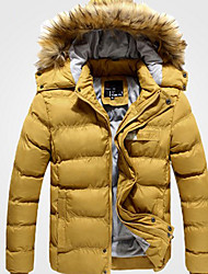 cheap -Men's Cotton Cultivation Cotton / Wool Collar Thick Hooded Jacket