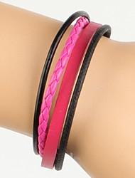 rosa muito legal simples pulseira de couro das mulheres ajustáveis e de couro torção preto (1 peça)