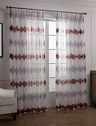 cheap -Rod Pocket Grommet Top Tab Top Double Pleated Two Panels Curtain Modern , Novelty Bedroom Polyester Material Sheer Curtains Shades Home