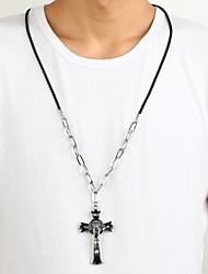иисус сплав цинка черный серебряный крест распятие ожерелье
