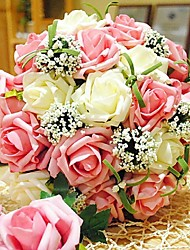 Fleurs de mariage Rond Roses Bouquets Mariage Polyester Env.30cm