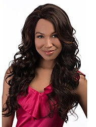 Capless Mix Color Extra Long High Quality Natural Curly Hair Synthetic Wigs with None Bang