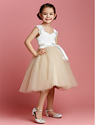 cheap -Ball Gown Knee Length Flower Girl Dress - Tulle / Charmeuse Sleeveless Straps with Sash / Ribbon by LAN TING BRIDE® / Spring / Summer / Fall