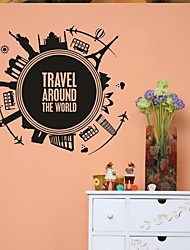 cheap -Landscape Shapes Architecture Vintage Cartoon Wall Stickers Plane Wall Stickers Decorative Wall Stickers, Vinyl Home Decoration Wall Decal