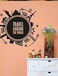 Недорогие -настенные наклейки наклейки на стены, домашний декор путешествовать по всему миру ПВХ росписи стены стикеры