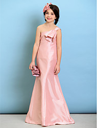 cheap -A-Line One Shoulder Floor Length Taffeta Junior Bridesmaid Dress with Bow(s) by LAN TING BRIDE®