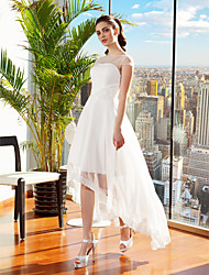 cheap -A-Line Illusion Neckline Asymmetrical Chiffon Wedding Dress with Sash / Ribbon Flower by LAN TING BRIDE®