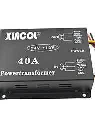 cheap -Xincol® Vehicle Car DC 24V to 12V 40A Power Supply Transformer Converter with Fan Regulation-Black